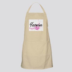 Yasmine Artistic Name Design with Flowers Apron