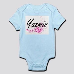 Yazmin Artistic Name Design with Flowers Body Suit