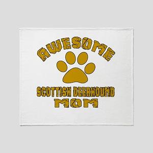 Awesome Scottish Deerhound Mom Dog D Throw Blanket