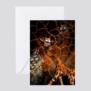Sweet, cool giraffe Greeting Cards