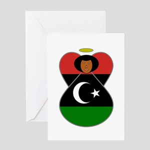 Libyan Flag Angel Black Hair Greeting Cards