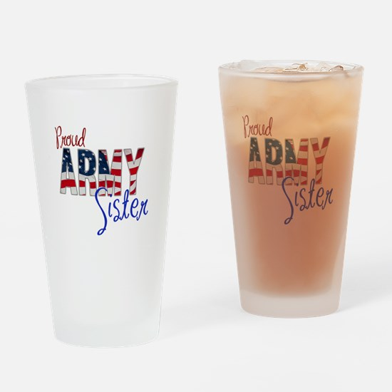 Proud Patriotic Army Sister Drinking Glass