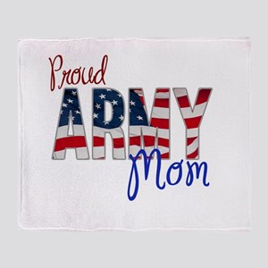 Proud Patriotic Army Mom Throw Blanket