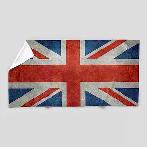 UK British Union Jack flag retro style Beach Towel