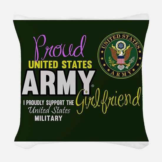 Proud Army Girlfriend Seal Woven Throw Pillow
