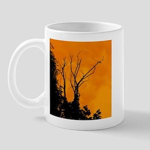 Tree Ornate Black & Orange Mug