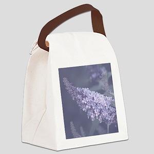 Purple Flower Design Canvas Lunch Bag