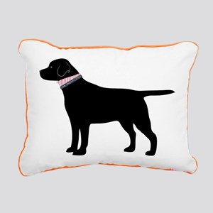 Preppy Black Lab Rectangular Canvas Pillow