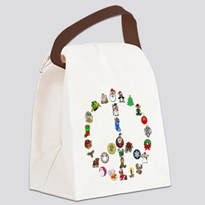 Christmas Peace Sign Canvas Lunch Bag
