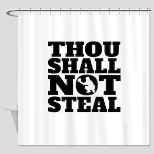 Thou Shall Not Steal Baseball Catcher Shower Curta