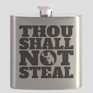 Thou Shall Not Steal Baseball Catcher Flask