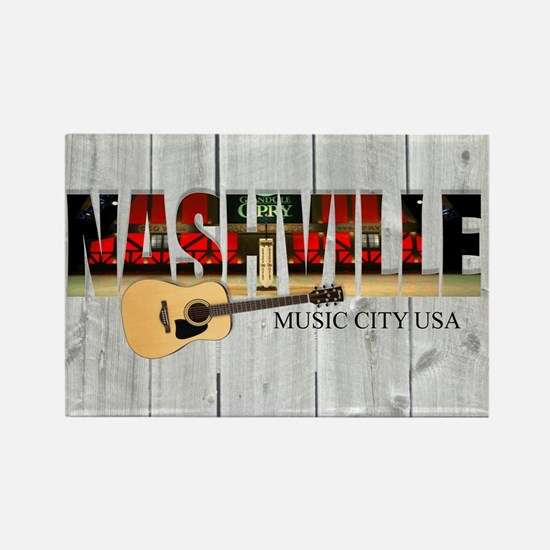 Nashville Music City-LS Rectangle Magnet