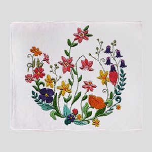 Embroidered Spring Flowers Throw Blanket