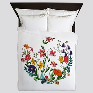 Embroidered Spring Flowers Queen Duvet