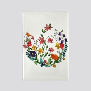 Embroidered Spring Flowers Rectangle Magnet