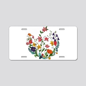 Embroidered Spring Flowers Aluminum License Plate