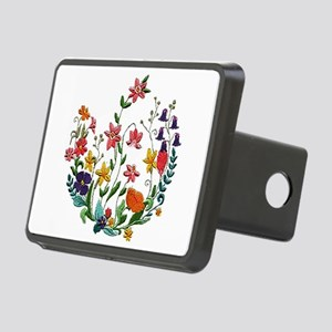 Embroidered Spring Flowers Rectangular Hitch Cover