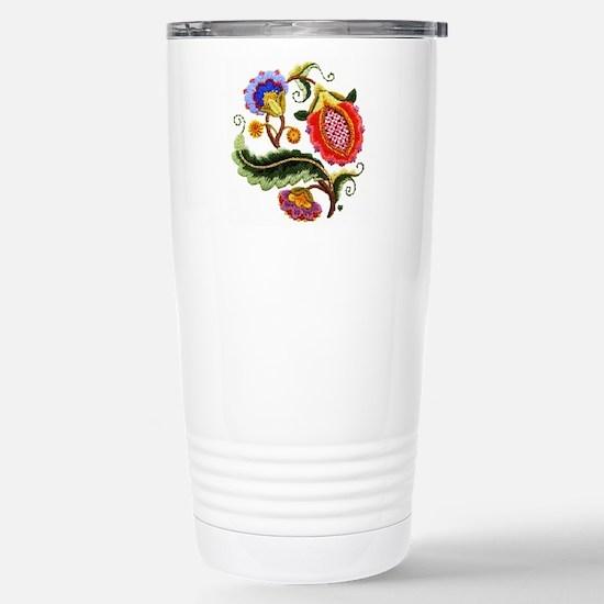 Crewel Embroidery Stainless Steel Travel Mug