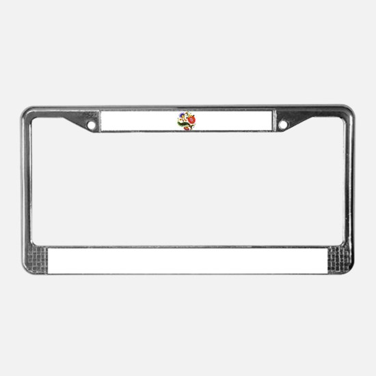 Crewel Embroidery License Plate Frame