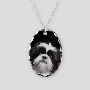 Shih Tzu Dog Necklace Oval Charm