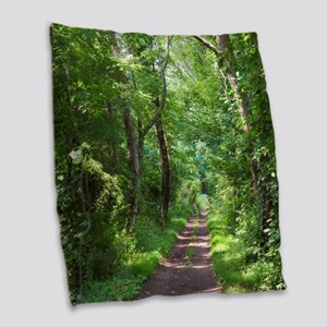 Forest Trail Burlap Throw Pillow