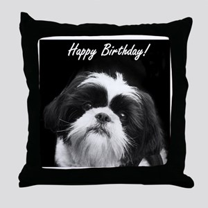 Birthday Shih Tzu Throw Pillow
