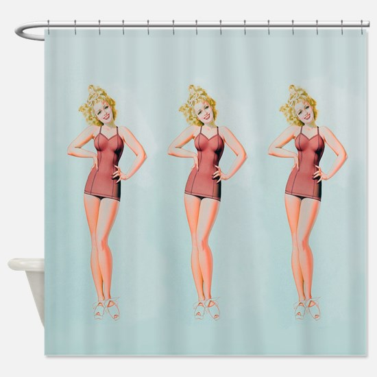 Pinup Girls In Retro Swimsuits, Shower Curtain