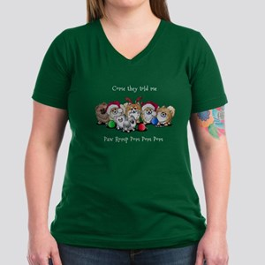 Christmas Pommies Women's V-Neck Dark T-Shirt