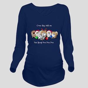 Christmas Pommies Long Sleeve Maternity T-Shirt