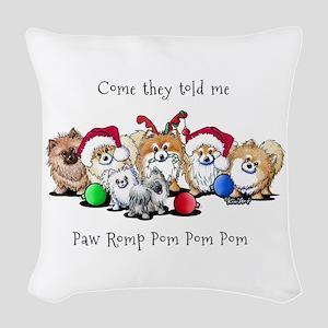 Christmas Pommies Woven Throw Pillow