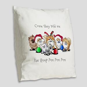 Christmas Pommies Burlap Throw Pillow