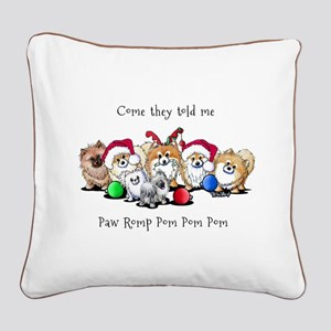 Christmas Pommies Square Canvas Pillow