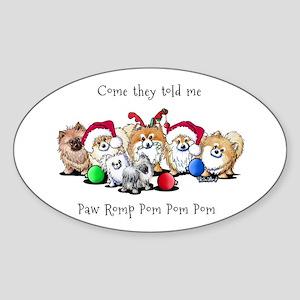 Christmas Pommies Sticker (Oval)