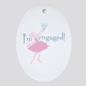 Retro Engaged Oval Ornament