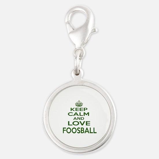 Keep calm and love Foosball Silver Round Charm