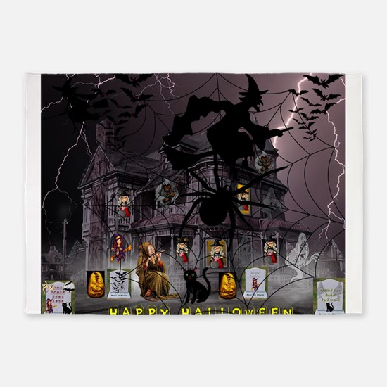 Spidery Witches Haunted House 5'x7'Area Rug