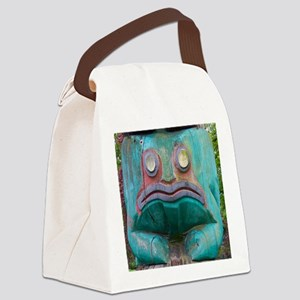 Totem Pole Frog Canvas Lunch Bag
