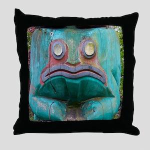 Totem Pole Frog Throw Pillow