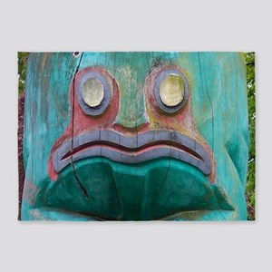 Totem Pole Frog 5'x7'Area Rug