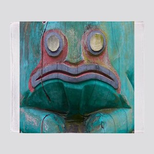 Totem Pole Frog Throw Blanket