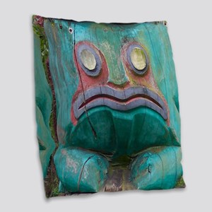 Totem Pole Frog Burlap Throw Pillow