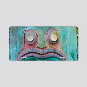 Totem Pole Frog Aluminum License Plate