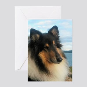 Collie by the Ocean Greeting Card