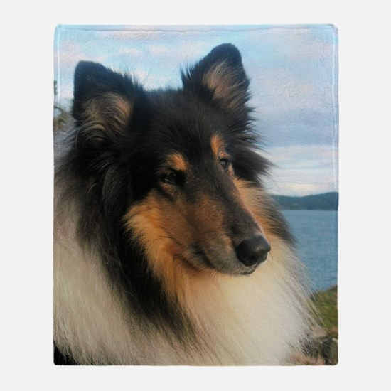 Collie by the Ocean Throw Blanket