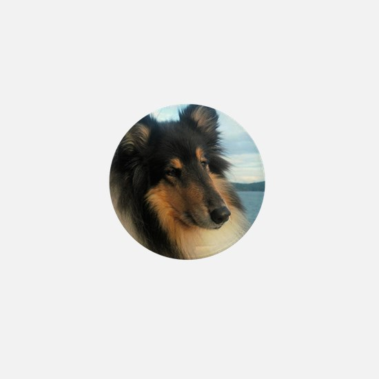 Collie by the Ocean Mini Button