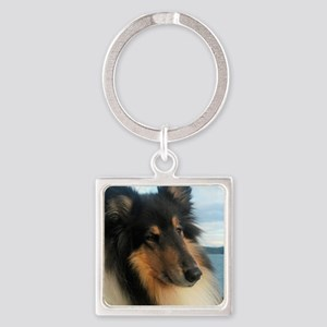 Collie by the Ocean Square Keychain