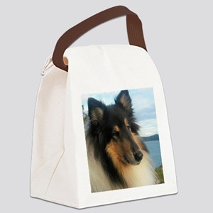 Collie by the Ocean Canvas Lunch Bag