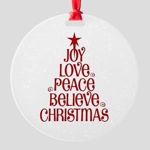 Joy Love Peace Believe Christmas Word Tree Ornamen