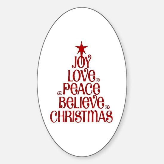 Joy Love Peace Believe Christmas Word Tree Decal