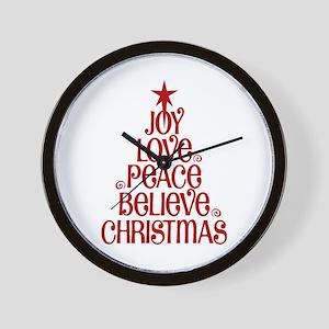 Joy Love Peace Believe Christmas Word Tree Wall Cl